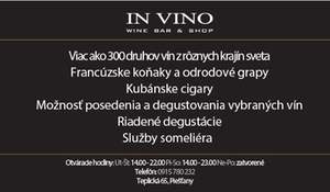 In VINO wine bar & shop Piešťany
